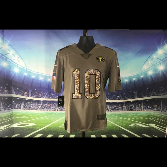 buy online ce847 d9f02 49ers #10 Garoppolo Salute to Service Game Jersey NWT